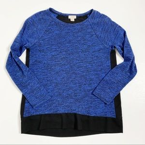 J. Crew Blue Black Long Sleeve Pullover Top Small